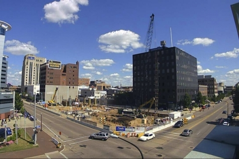 Video on Construction Crane for The Exchange Shows the Kalamazoo Skyline